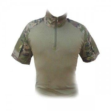 Camiseta Táctica Cremallera - Boscoso Pixelado