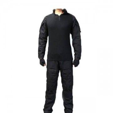 Uniforme de combate con rodilleras en Negro