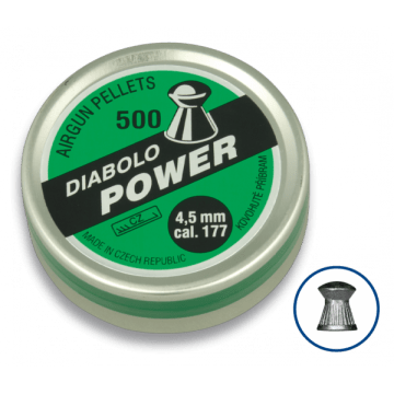 Tin of 200 pellets caliber 4.5 mm. DIABLO brand, model POWER