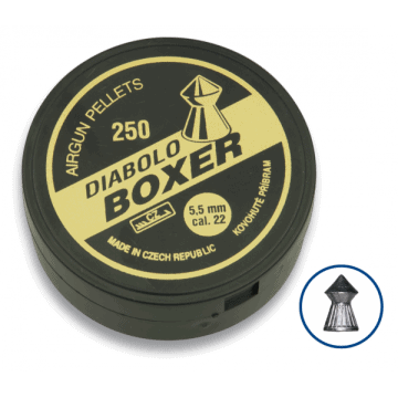 Tin of 200 pellets caliber 4.5 mm. DIABLO brand, model BOXER