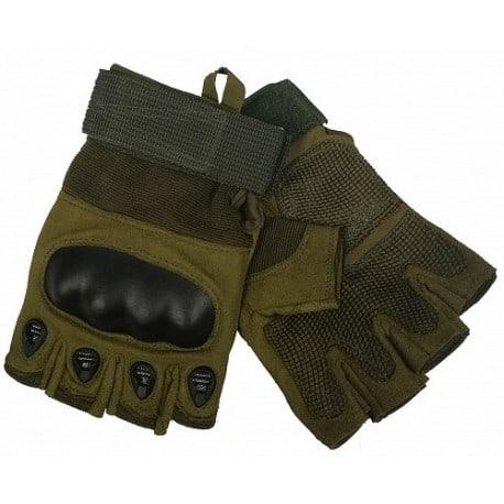 Guantes tácticos de color Verde. Dedos cortados.