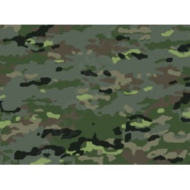 Pixelated wooded camouflage military fabric