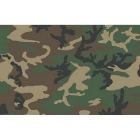 Woodland camouflage military fabric