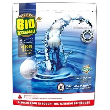 Bag 1 Kg of Bio-BBs white 0.25 g