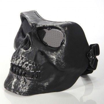 Mask for airsoft black color, model SKULL II