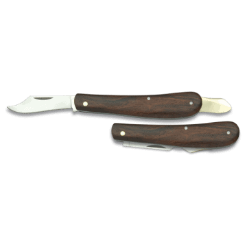 Grafting knife with wooden handle