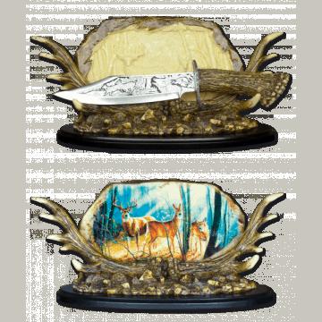 Cuchillo fantasía de decoración Tole 10 con peana de madera.
