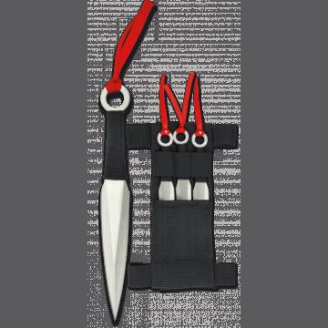 Cuchillo lanzador Albainox de tres piezas con funda de nylon