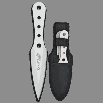 Set tres cuchillos lanzadores Albainox, modelo WHITE DRAGON