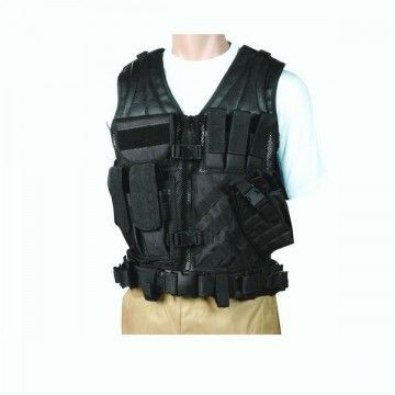 Tactical vest with built-in belt. Black shadow