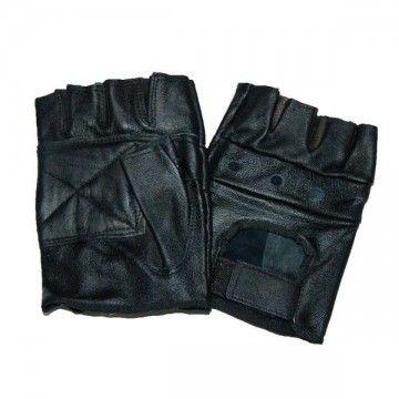 Guantes de cuero con dedos cortados de color negro