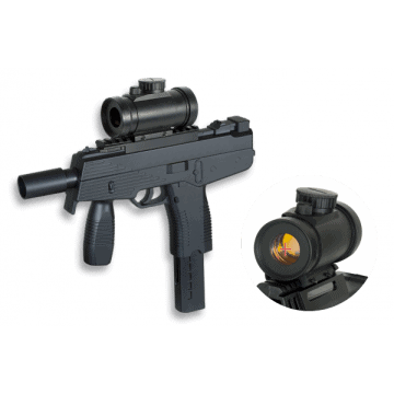 Submachine gun spring airsoft replica of Uzi with grip and scope. Brand Double Eagle