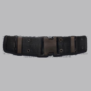 Cinturón militar de nylon. Color negro. 130 x 5.7 cm