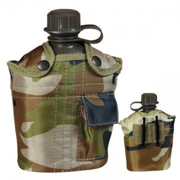 PVC, 1 L and camo pouch canteen.