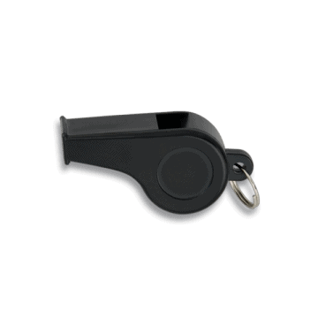 Black plastic whistle with ring. 4 cm