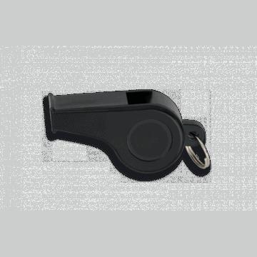 Silbato plástico negro, con anilla. 4 cm