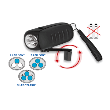 linterna recargable dinamo. 3 Led