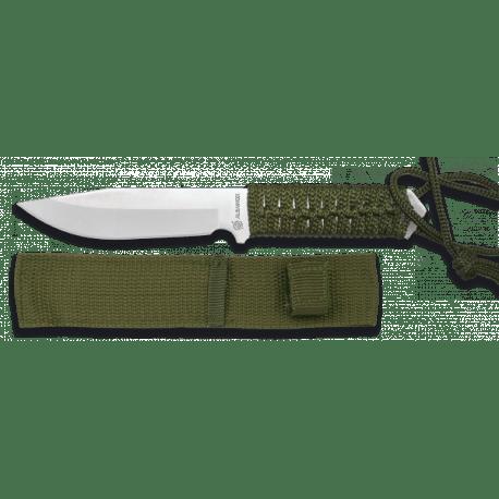 Cuchillo táctico de acero inoxidable, con funda de Nylon. 20.5 cm