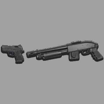 Set de Escopeta de airsoft, réplica del modelo Mossberg 590 Chainsaw + Pistola de airsoft.