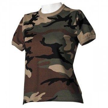 Camiseta militar de mujer estilo camo boscoso