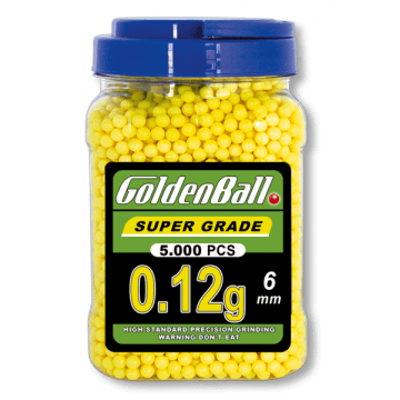 Bote de 5000 bolas 0.12 g para airsoft, del calibre 6 mm, de la marca Golden Ball