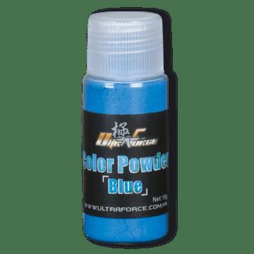 Bote de polvo azul para minas de airsoft. Con un peso de 16 g.
