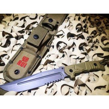 Cuchillo táctico RUI de 29 cm, con funda nylon con afilador y mango SFL- Goma