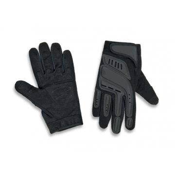 Airsoft tactical gloves with reinforcement in the areas of impact. Black