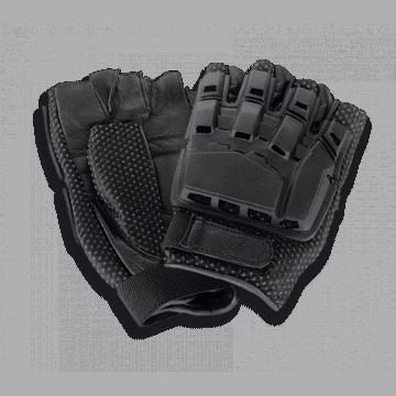 Guantes tácticos airsoft de color negros y sin dedos