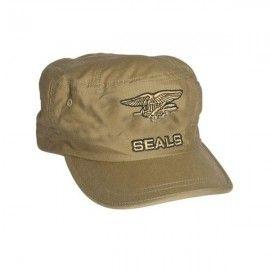 Gorra de los Navy Seals bordada de color Tan.