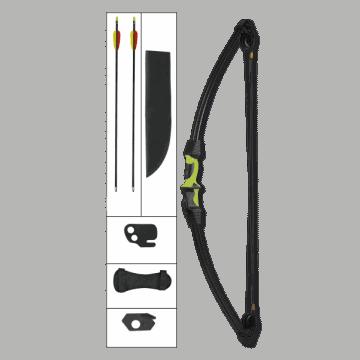 Arco de poleas de 15 LB, de color negro y empuñadura verde.