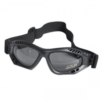 Safety glasses of black tape.
