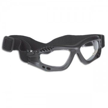 Goggles of transparent glass. Black