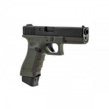 Pistola de Co2 Glock S17 Combat Supergrade OD con corredera negra. Stark Arms.