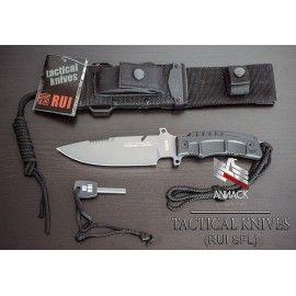 Cuchillo táctico RUI de 28 cm, con funda nylon de apertura rápida y mango SFL Rubber Coated.