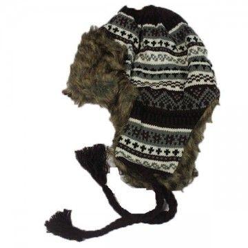 Gorro de invierno con orejeras, estilo peruano marrón