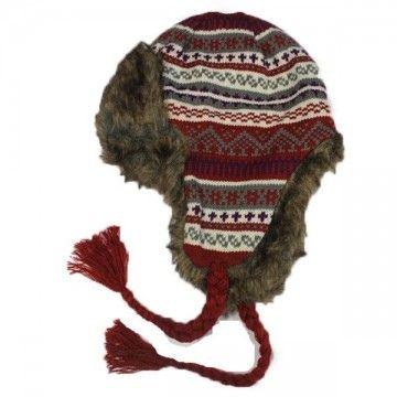 Gorro de invierno con orejeras, estilo peruano rojo