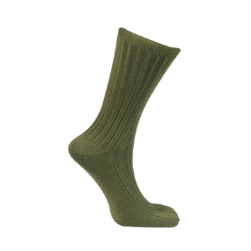 Calcetín técnico de algodón verde