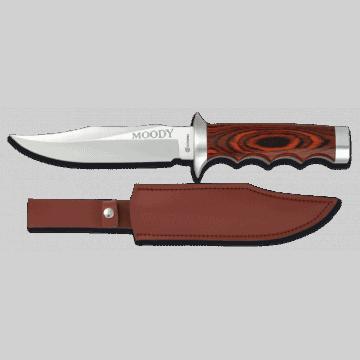 Cuchillo deportivo albainox de 27,5 con funda de piel y mango de stamina roja