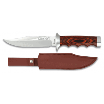 Sporting knife albainox 27.5 with leather and Red stamina handle
