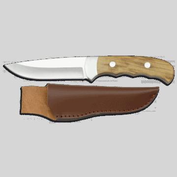 Cuchillo deportivo albainox de 22 cm, con mango de olivo y funda de piel