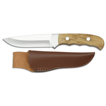 Sporting knife albainox of 22 cm, olive wood handle and leather case