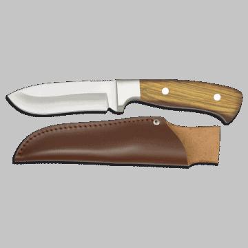 Cuchillo deportivo albainox de 22 cm, con mango de mikarta y funda de piel