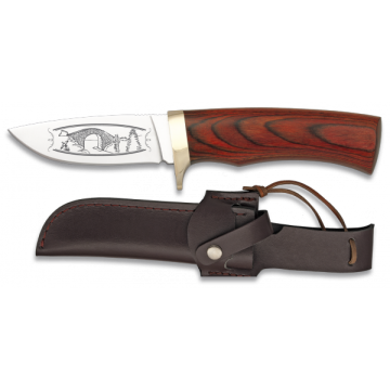 Cuchillo deportivo STEEL 440 de 20.7 cm, con funda de piel y mango de stamina roja