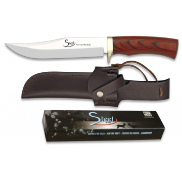 Cuchillo deportivo STEEL 440 de 28.5 cm, con virola de alpaca y mango de stamina roja