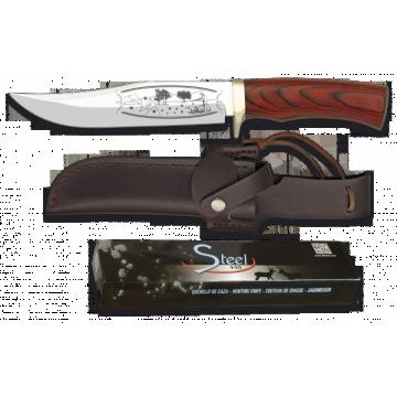 Cuchillo deportivo STEEL 440 de 28.5 cm, con funda de piel y mango de stamina roja