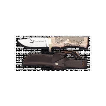 Cuchillo deportivo STEEL 440 de 20.7 cm, con funda de piel y mango de madera