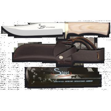 Cuchillo deportivo STEEL 440 de 28.5 cm con funda de piel y mango de madera