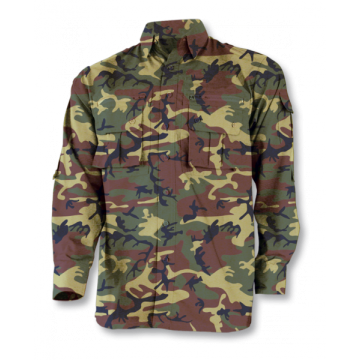 Cadet shirt, the Barbaric brand. Green camouflage