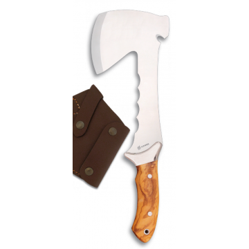 Hacha deportiva Albainox de 31 cm, con skinner profesional (olivo)